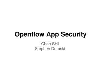 Openflow App Security