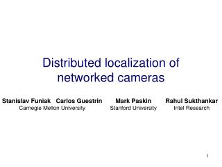 Distributed localization of networked cameras