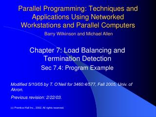 Parallel Programming: Techniques and Applications Using Networked Workstations and Parallel Computers