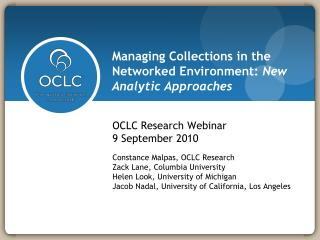Managing Collections in the Networked Environment:  New Analytic Approaches