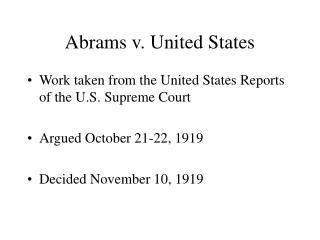 Abrams v. United States