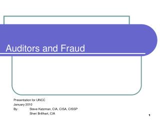 Auditors and Fraud