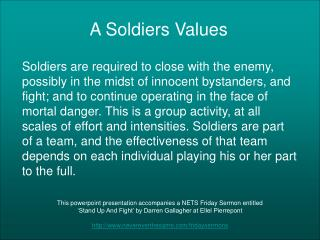 A Soldiers Values