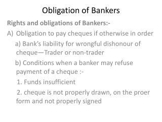 Obligation of Bankers