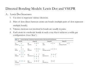 Directed Bonding Models: Lewis Dot and VSEPR