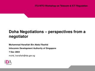 Doha Negotiations – perspectives from a negotiator