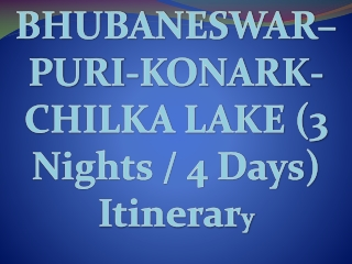 Bhubaneswar Konark Puri Chilka (3 Nights / 4 Days) Itinerary