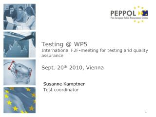 Testing @ WP5 International F2F-meeting for testing and quality assurance Sept . 20 th 2010, Vienna