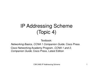ip addressing scheme topic 4