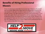 Benefits of Hiring Professional Movers