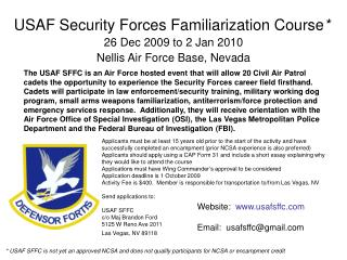 USAF Security Forces Familiarization Course *