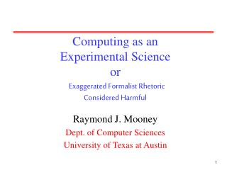 Computing as an Experimental Science or Exaggerated Formalist Rhetoric Considered Harmful