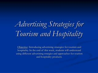 Advertising Strategies for Tourism and Hospitality