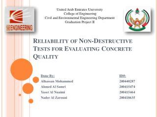 Reliability of Non-Destructive Tests for Evaluating Concrete Quality