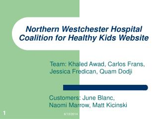Northern Westchester Hospital Coalition for Healthy Kids Website
