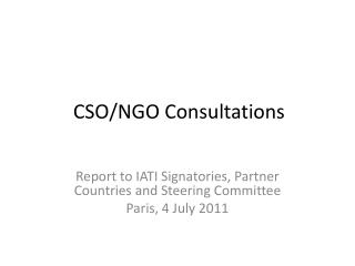 CSO/NGO Consultations