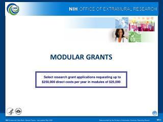 MODULAR GRANTS Select research grant applications requesting up to $250,000 direct costs per year in modules of $25,000