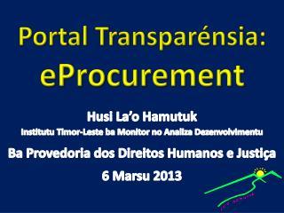 Portal Transparénsia: eProcurement