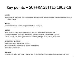 Key points – SUFFRAGETTES 1903-18