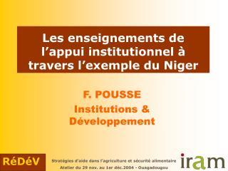 Les enseignements de l'appui institutionnel à travers l'exemple du Niger