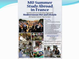 Summer Study Abroad in France: Mediterranean Diet and Lifestyle