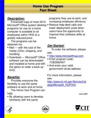 Home Use Program Fact Sheet