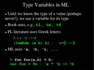 Type Variables in ML