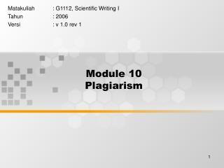 Module 10 Plagiarism