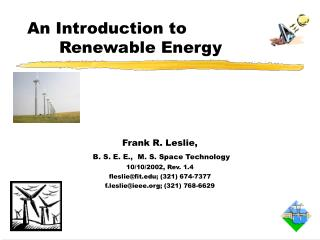 An Introduction to 				Renewable Energy