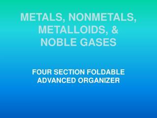 METALS, NONMETALS, METALLOIDS, & NOBLE GASES