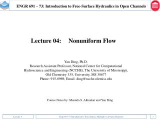 ENGR 691 – 73: Introduction to Free-Surface Hydraulics in Open Channels