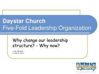 Daystar Church Five-Fold Leadership Organization