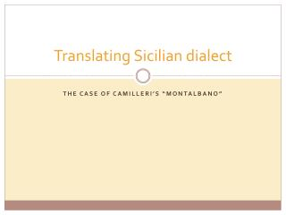 Translating Sicilian dialect
