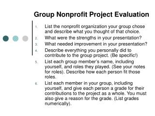 Group Nonprofit Project Evaluation