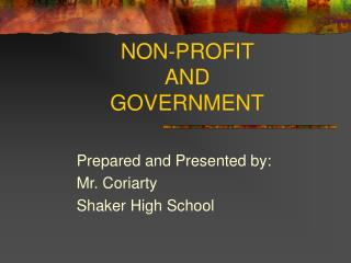NON-PROFIT AND GOVERNMENT