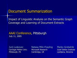 Impact of Linguistic Analysis on the Semantic Graph Coverage and Learning of Document Extracts