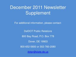 December 2011 Newsletter Supplement