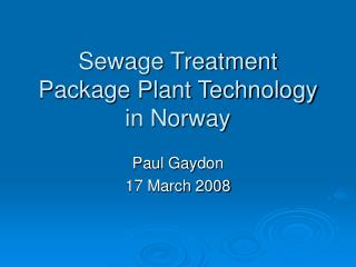 Sewage Treatment Package Plant Technology in Norway