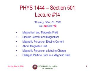 PHYS 1444 – Section 501 Lecture #14