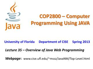 COP2800 – Computer Programming Using JAVA