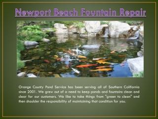 Fountain Repair Newport Beach