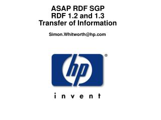 ASAP RDF SGP  RDF 1.2 and 1.3  Transfer of Information
