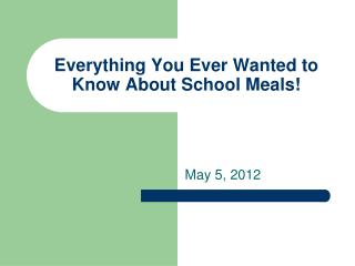 Everything You Ever Wanted to Know About School Meals!