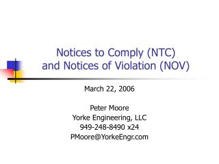 Notices to Comply NTC and Notices of Violation NOV