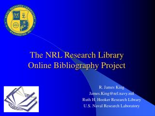 The NRL Research Library Online Bibliography Project