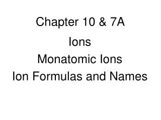 Chapter 10 & 7A