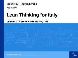 Lean Thinking for Italy