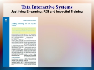 Justifying E-learning: ROI and Impactful Training