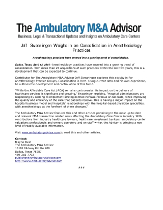 Jeff Swearingen Weighs in on Consolidation in Anesthesiology