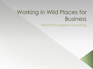 Working in Wild Places for Business